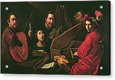 Concert With Musicians And Singers, C.1625 Oil On Canvas Acrylic Print by Pietro Paolini