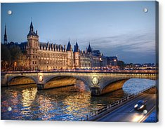 Acrylic Print featuring the photograph Conciergerie And Pont Napoleon At Twilight by Jennifer Ancker