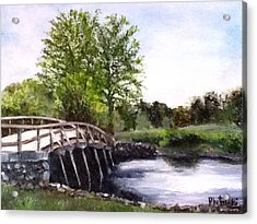 Acrylic Print featuring the painting Concord Bridge by Cindy Plutnicki
