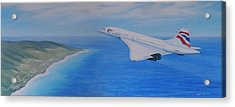 Concorde Over Barbados Acrylic Print by Elaine Jones