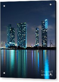 Condominium Buildings In Miami Acrylic Print by Carsten Reisinger