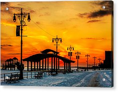 Coney Island Winter Sunset Acrylic Print