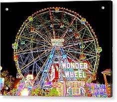 Coney Island's Famous Amusement Park And Wonder Wheel Acrylic Print