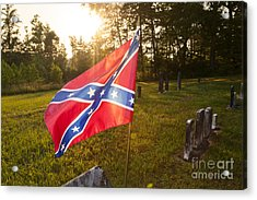 Confederate Flag In An Old Cemetery Acrylic Print by Jonathan Welch