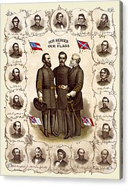 Confederate Generals And Flags Acrylic Print