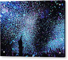 Confetti Falling On Crowd At Concert Acrylic Print by Natalia Martin Rivero / Eyeem