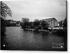 Confluence Of The Rivers Cocker And Derwent On A Rainy Overcast Day Cockermouth Cumbria England Acrylic Print by Joe Fox
