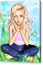 Confused Little Girl Acrylic Print