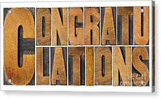 Congratulations In Wood Type Acrylic Print