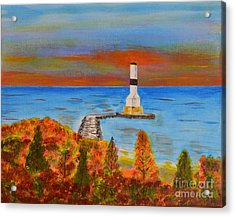 Fall, Conneaut Ohio Light House Acrylic Print by Melvin Turner