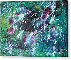 Connected Blue Green Abstract By Chakramoon Acrylic Print by Belinda Capol