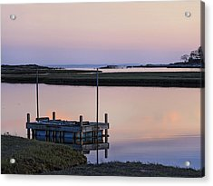 Connecticut Backwaters Sunset With Dock  Acrylic Print