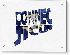 Connecticut Typographic Map Flag Acrylic Print by Ayse Deniz