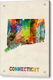 Connecticut Watercolor Map Acrylic Print by Michael Tompsett