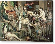 Conquest Of Mexico Hernando Cortes Acrylic Print by Nicholas Eustache Maurin