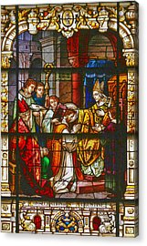 Consecration Of St Augustine Stained Glass Window Acrylic Print by Christine Till