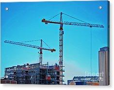 construction cranes HDR Acrylic Print by Antony McAulay