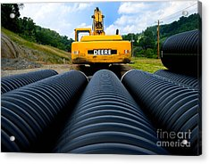 Construction Excavator Acrylic Print by Amy Cicconi