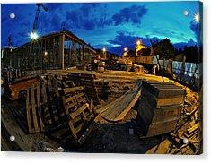 Construction Site At Night Acrylic Print by Jaroslaw Grudzinski