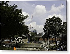Construction Work Ongoing In Singapore Acrylic Print by Ashish Agarwal