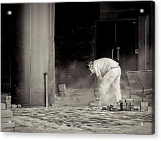 Construction Worker Bw Acrylic Print by Rudy Umans