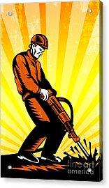 Construction Worker Jackhammer Retro Poster Acrylic Print by Aloysius Patrimonio