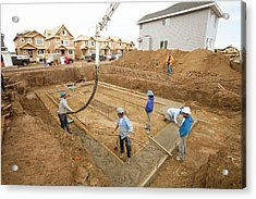 Construction Workers And Rows Of Houses Acrylic Print by Ashley Cooper