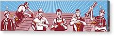 Construction Workers Tradesman Retro Acrylic Print by Aloysius Patrimonio