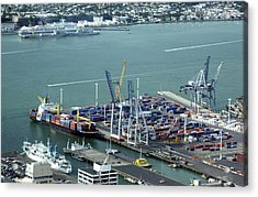 Container Ship And Harbour Acrylic Print