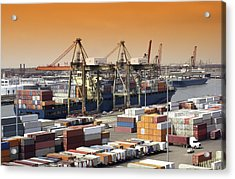 Container Ship And Lorries Acrylic Print