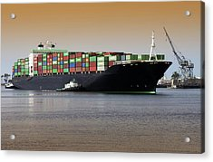 Container Ship And Tug Boat Acrylic Print