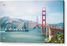 Container Ship Approaching The Golden Acrylic Print