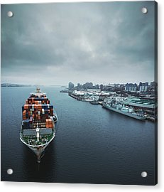 Container Ship In Halifax Harbour Acrylic Print