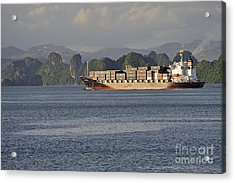 Container Ship In Halong Bay Acrylic Print