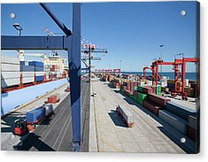Container Ship Moored At Commercial Dock Acrylic Print