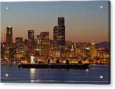 Container Ship On Puget Sound Along Seattle Skyline Acrylic Print
