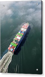 Container Ship Sailing Into Fog Acrylic Print