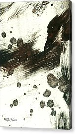 Contemplation In Black And White Abstract Art Acrylic Print by Ann Powell