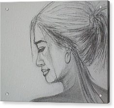 Acrylic Print featuring the drawing Contemplation by Jane  See