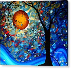 Contemporary Modern Art Original Abstract Landscape Painting Blue Essence By Megan Duncanson Acrylic Print by Megan Duncanson