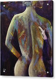 Contemporary Nude Woman Portrait Expressionist Style Acrylic Print