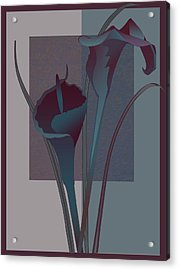 Contemporary Still Life Lilies In Burgundy And Blue Acrylic Print