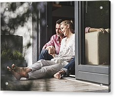 Content Mature Couple Relaxing Together At Open Terrace Door Acrylic Print by Westend61