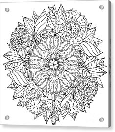 Contoured Mandala Shape Flowers For Acrylic Print