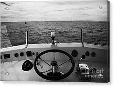 Controls On The Flybridge Deck Of A Charter Fishing Boat In The Gulf Of Mexico Out Acrylic Print by Joe Fox