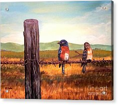 Conversation With A Fencepost Acrylic Print by Kimberlee Baxter