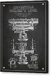 Convertible Builders Level Patent From 1922 -  Charcoal Acrylic Print by Aged Pixel
