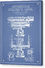 Convertible Builders Level Patent From 1922 -  Light Blue Acrylic Print by Aged Pixel