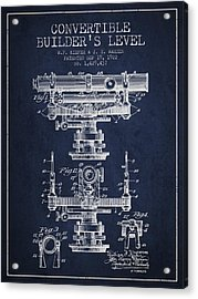 Convertible Builders Level Patent From 1922 -  Navy Blue Acrylic Print by Aged Pixel