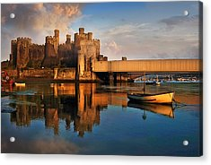 Conwy Castle And Boats Acrylic Print
